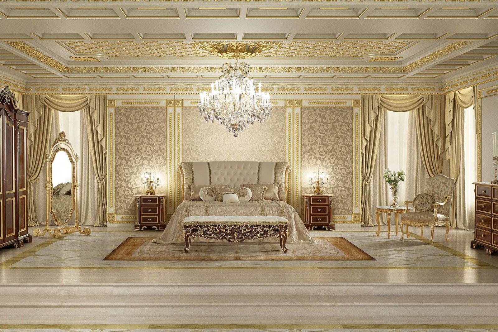 Nội thất phòng ngủ theo kiểu cổ điển Châu Âu xa hoa lộng lẫy