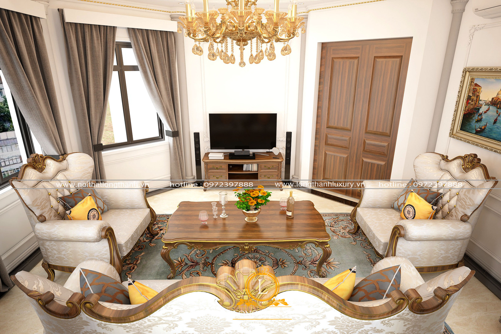 Không gian phòng khách nhà biệt thự nhẹ nhàng ấm cúng