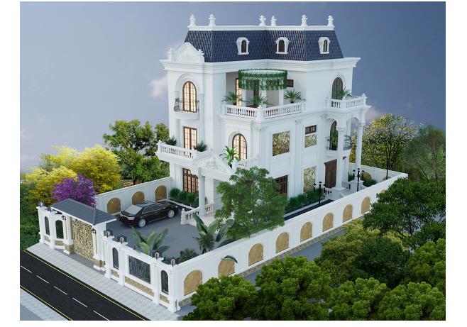 Tổng thể không gian kiến trúc nhà biệt thự 3 tầng thiết kế theo lối tân cổ điển