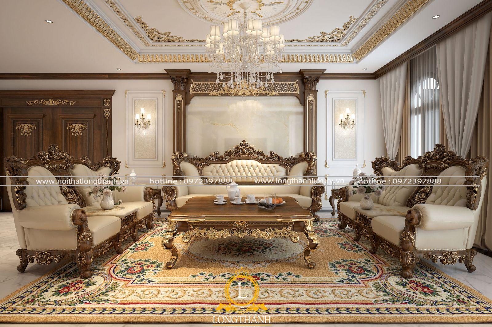 Tổng thể mẫu sofa tân cổ điển góc nhìn chính diện