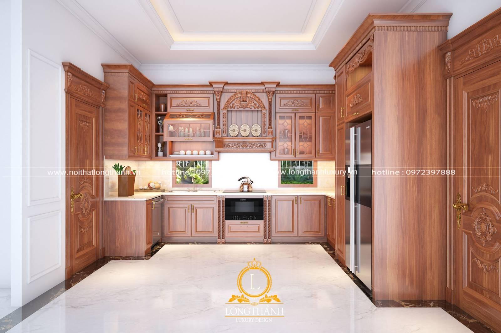 Nội thất tủ bếp Gỗ gõ với những ưu điểm nổi bật được nhiều người yêu thích