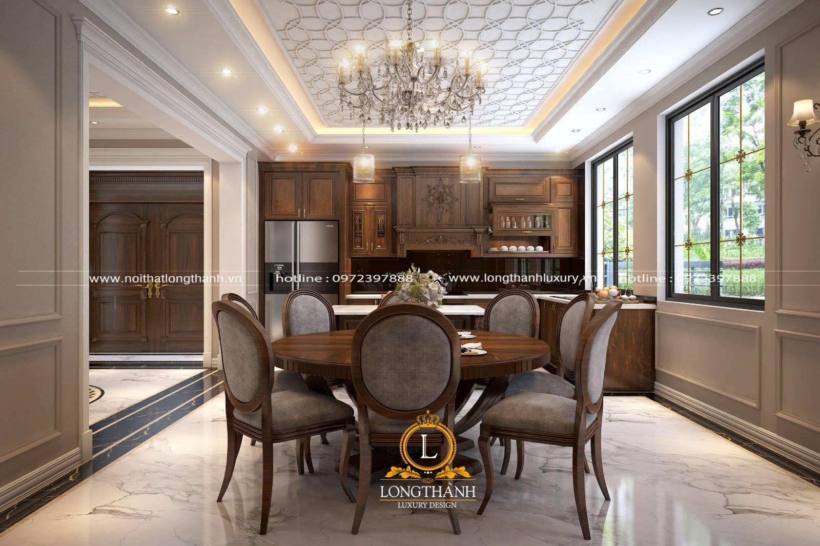 Thiết kế tủ bếp phong cách tân cổ điển gỗ Gõ thiết kế nhẹ nhàng tinh tế