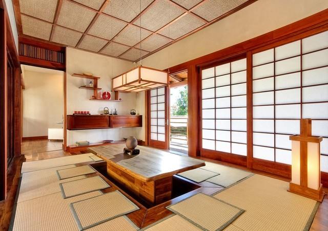 Không gian phòng khách kiểu Nhật với màu sắc nhẹ nhàng cân đối
