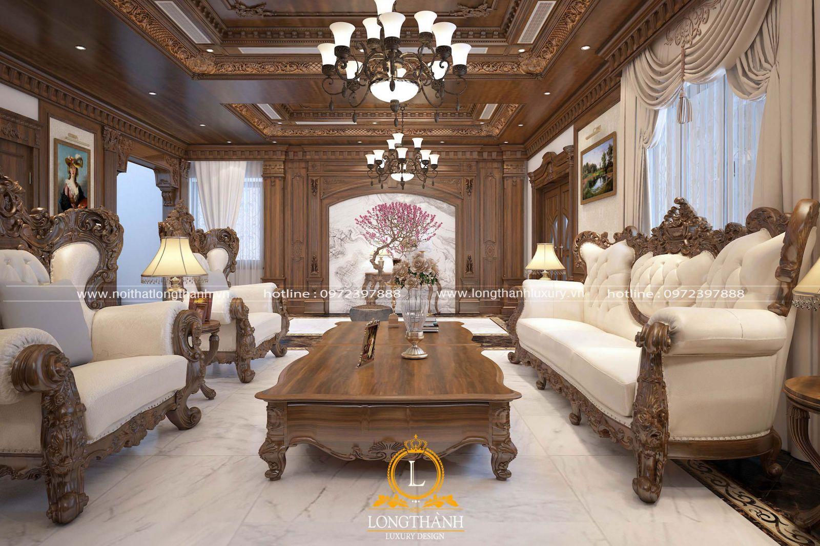 Góc nhìn tổng thể nội thất phòng khách tân cổ điển đẹp
