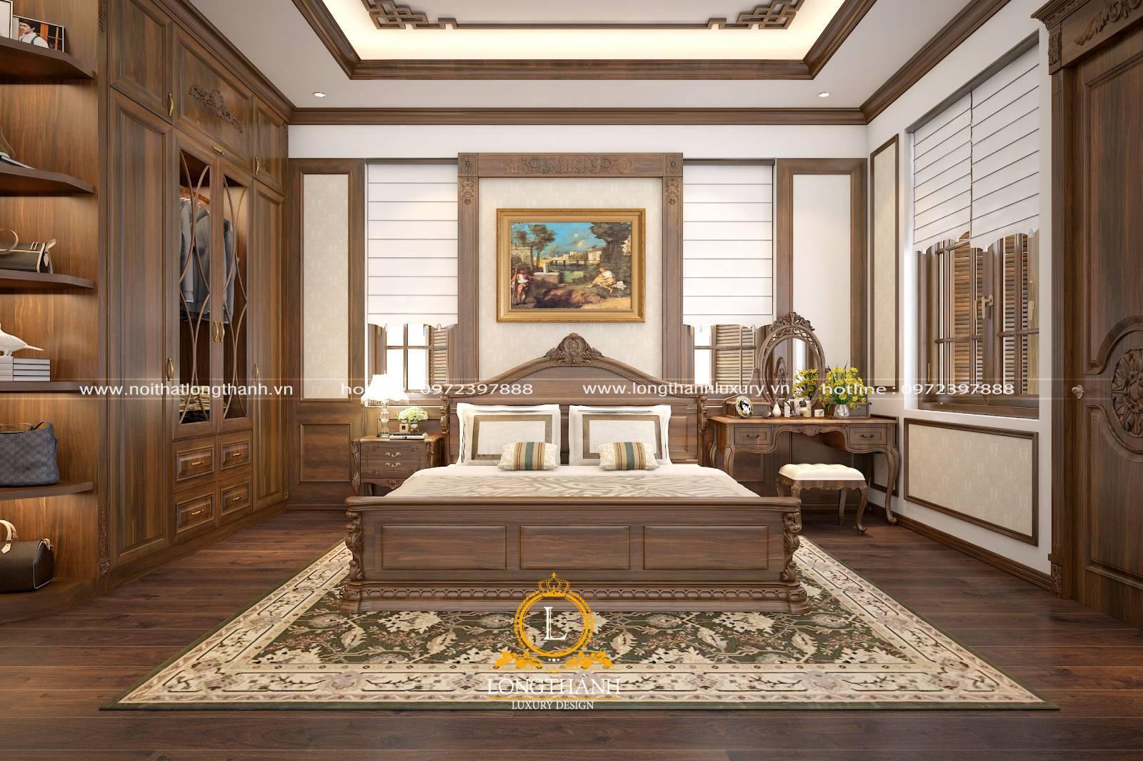 Tổng thể nội thất phòng ngủ tân cổ điển sử dụng gỗ tự nhiên cao cấp