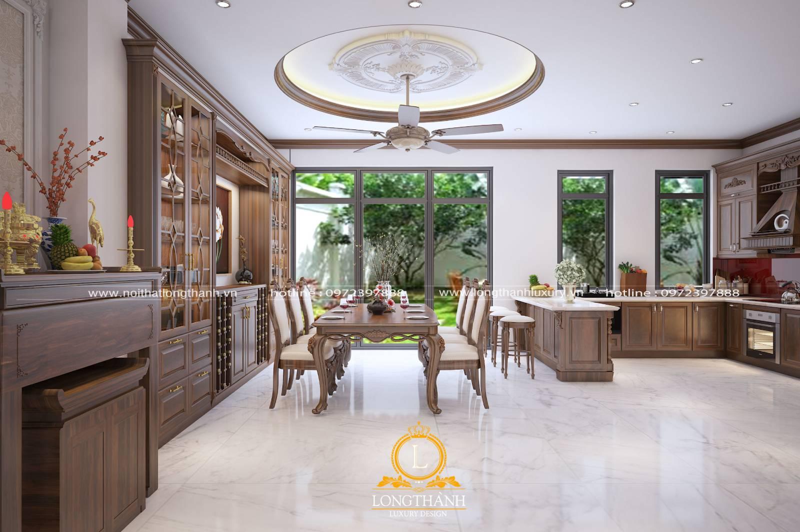 Tổng thể không gian phòng bếp nhà biệt thự thiết kế tiện nghi hiện đại
