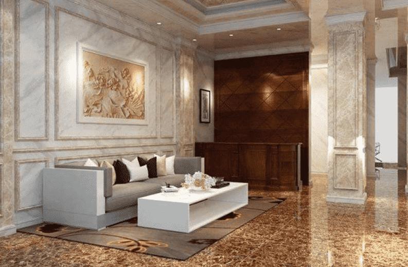 Trang nội thất trong nhà sử dụng chất liệu đá hoa cương cao cấp