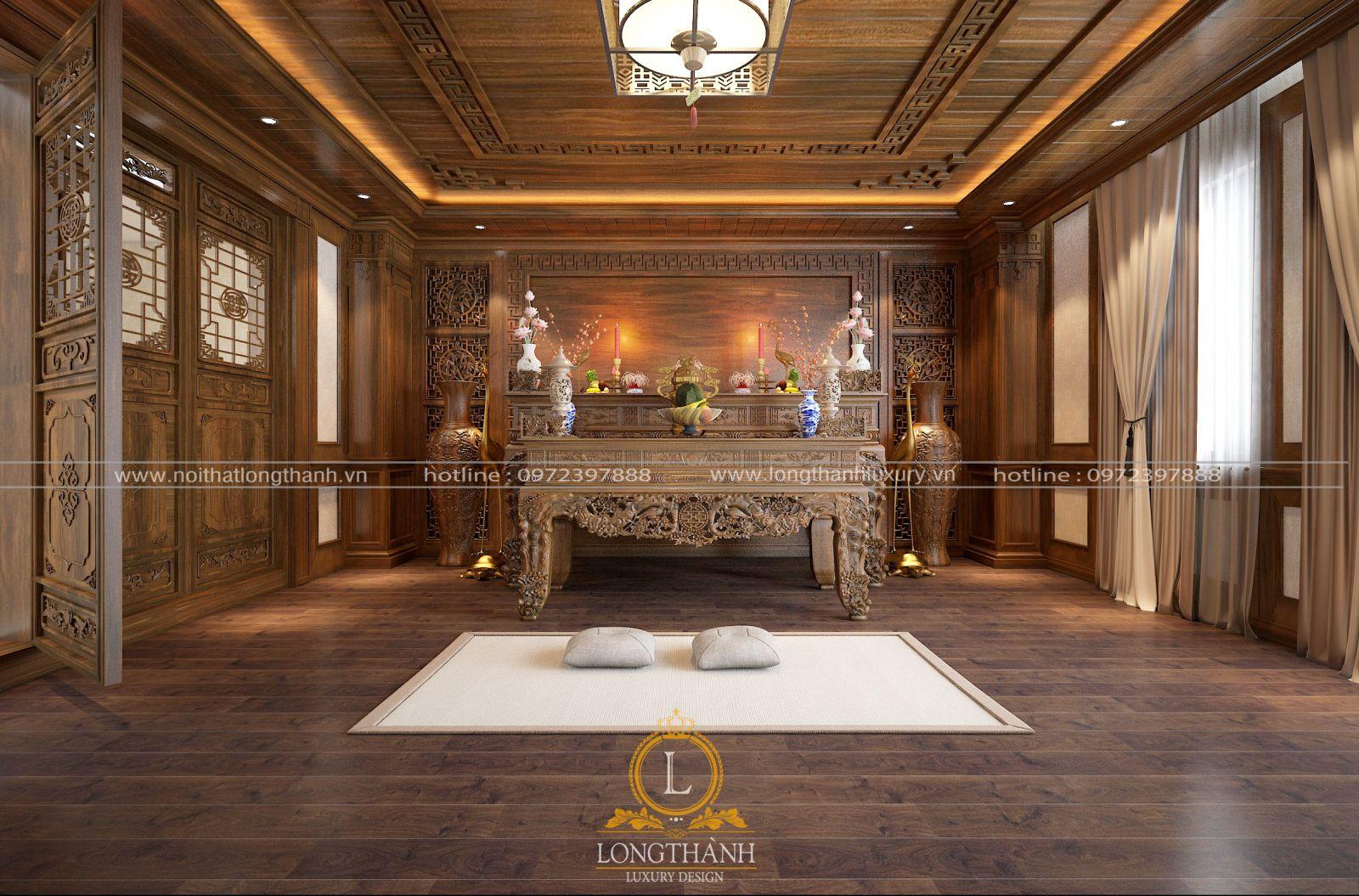 Trần gỗ phòng thờ đẹp