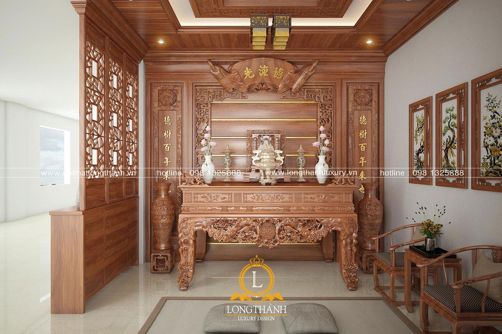 Trần phòng thờ bằng gỗ tự nhiên