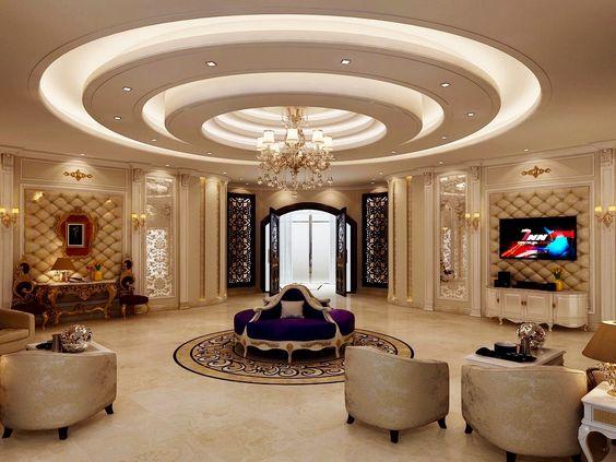 Trần giật 3 cấp phòng khách hiện đại