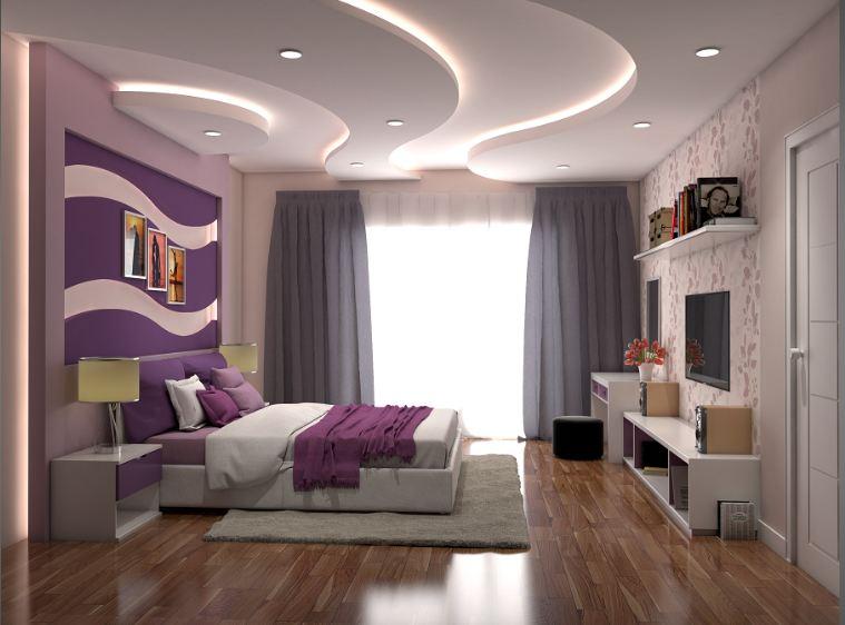 Thiết kế phòng ngủ hiện đại với mẫu trần thạch cao sinh động