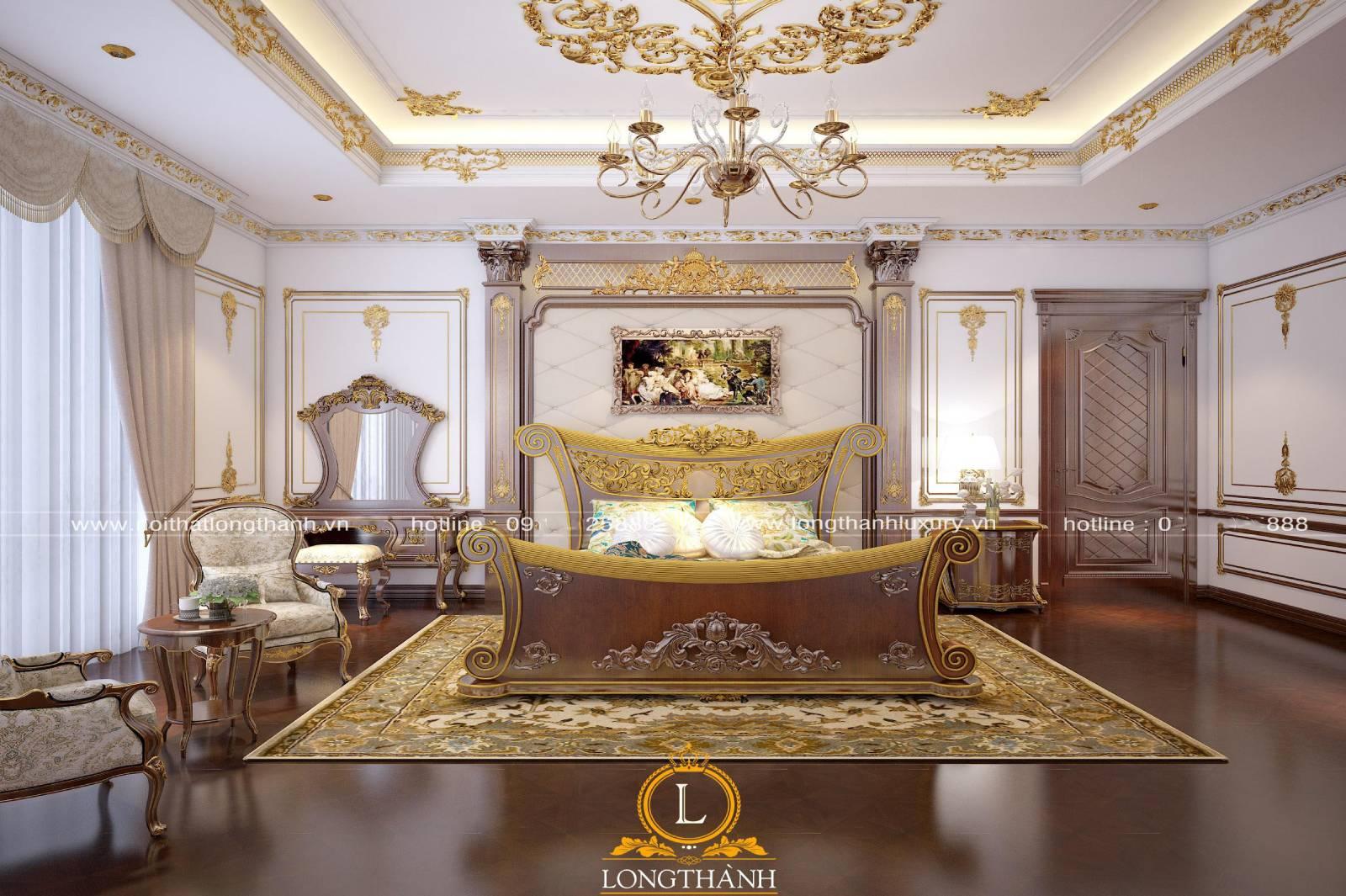 Thiết kế phòng ngủ sử dụng trần thạch cao sát vàng ở các chi tiết