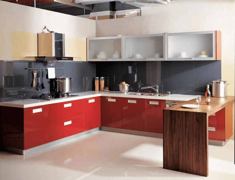 Trang trí căn bếp với mẫu tủ bếp tông màu đỏ ấn tượng