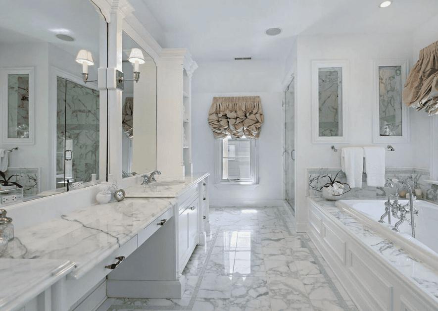 Trang trí nội thất nhà với đá cẩm thạch cao cấp có màu xanh trắng tự nhiên
