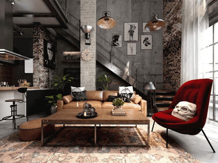 Trang trí nội thất phong cách công nghiệp giao thoa hiện đại