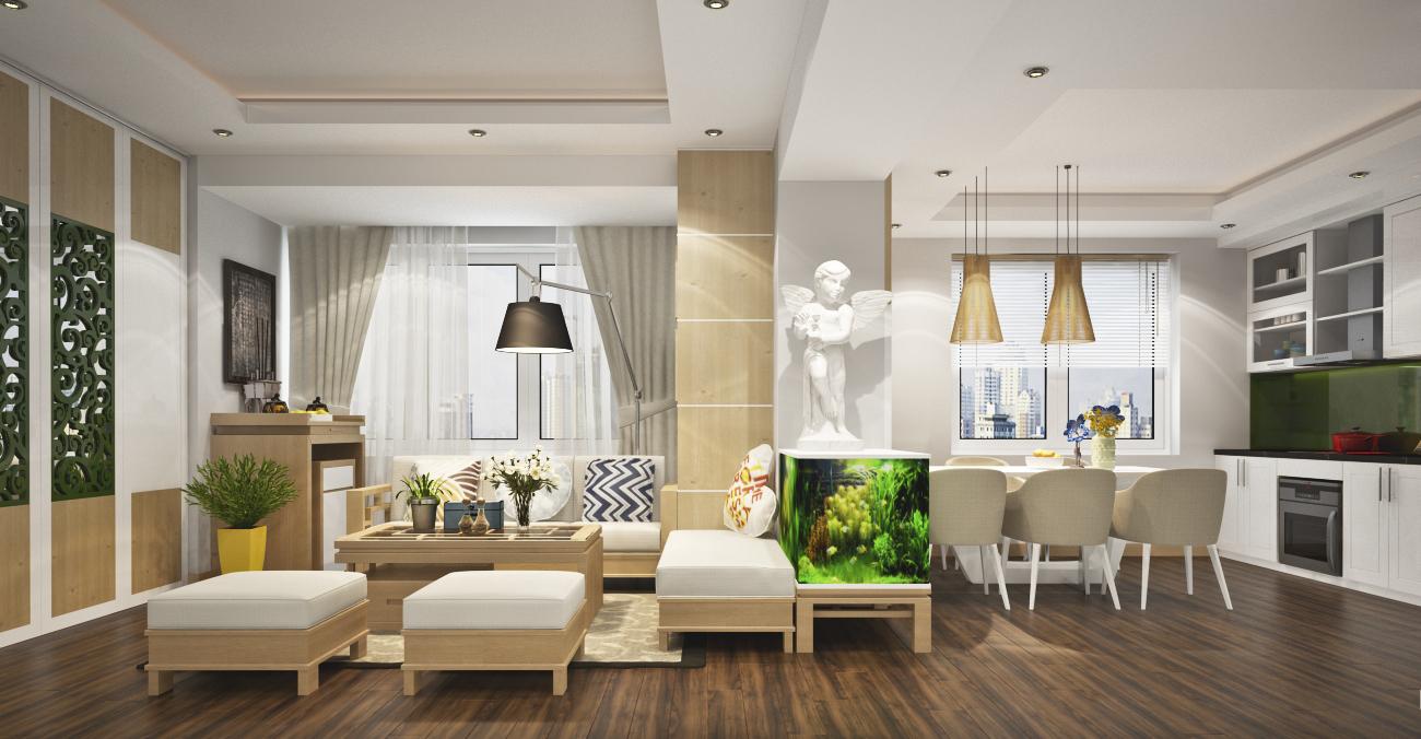 Nội thất phòng khách kiểu Nhật hiện đại đơn giản cho nhà chung cư