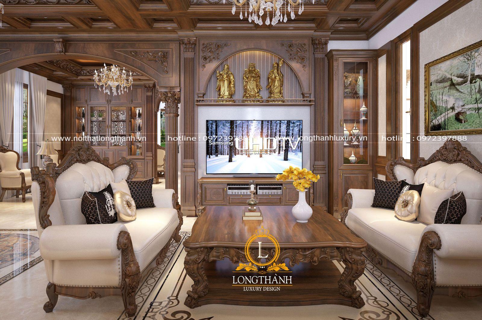 Trang trí phòng khách theo phong cách tân cổ điển sang trọng
