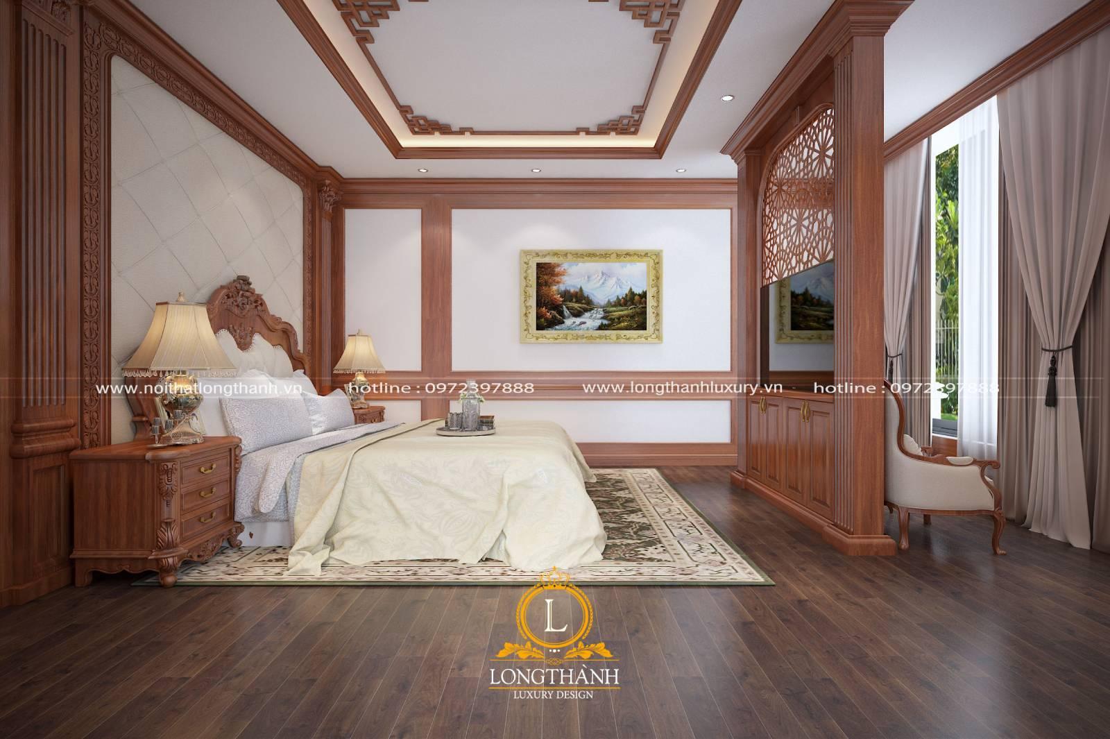 Tranh tân cổ điển về thiên nhiên trang trí bên trái giường ngủ