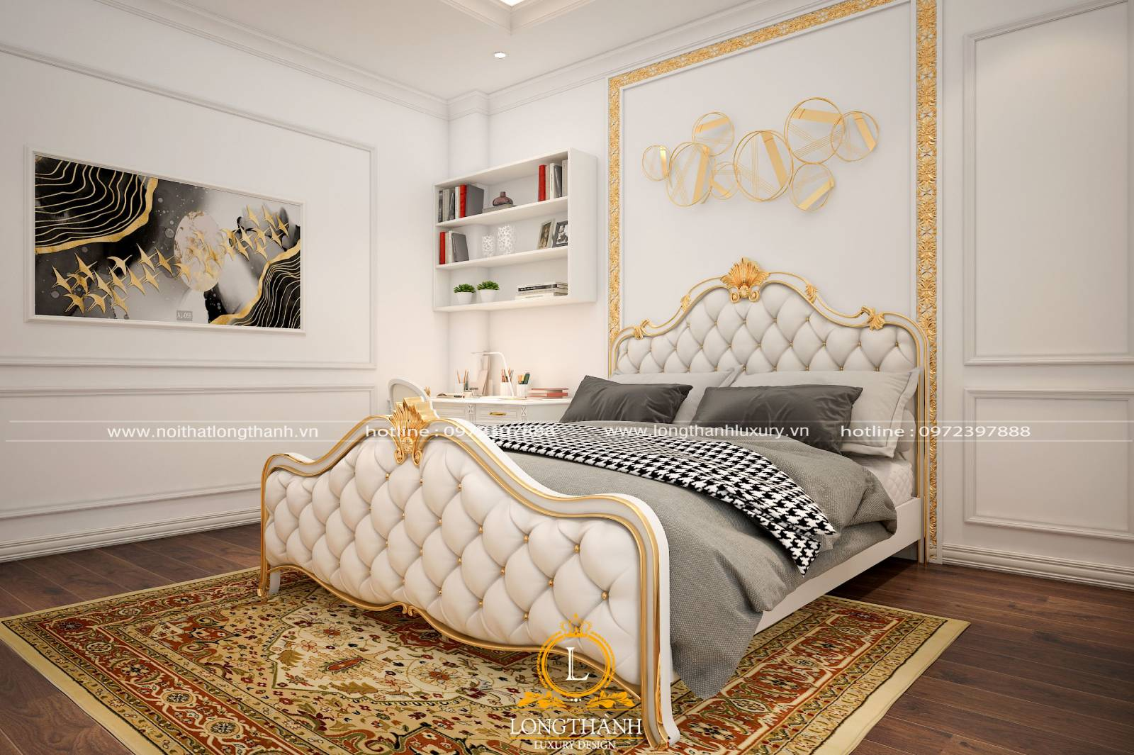 Tranh trang trí phòng ngủ tân cổ điển đẹp nhẹ nhàng tinh tế