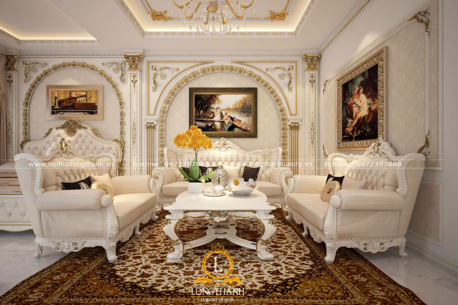 Bố trí tranh treo tường ở 3 mặt phẳng tường tạo nên sự hài hòa cho phòng khách