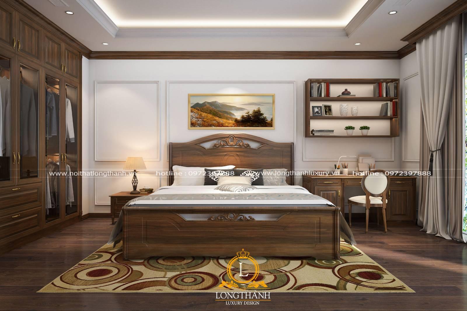 Tranh treo tường hài hòa cân đối tạo điểm nhấn cho phòng ngủ tân cổ điển