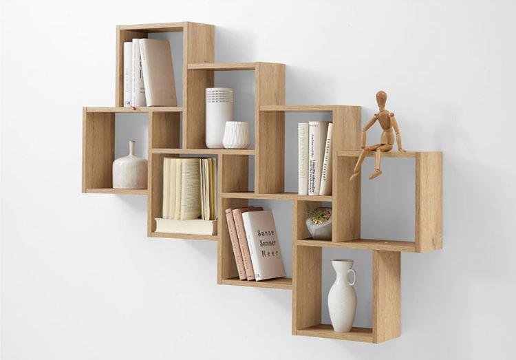 Mẫu tủ sách làm từ các khối ô vuông đơn giản mà tiện lợi