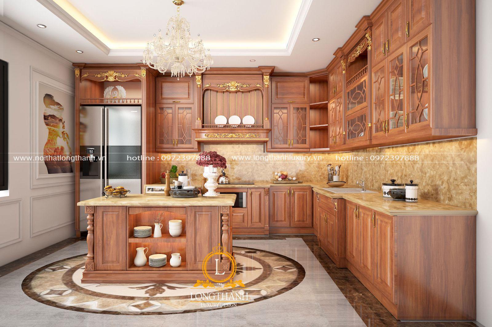 Tủ bếp chữ L được thiết kế theo phong cách tân cổ điển cho nhà phố