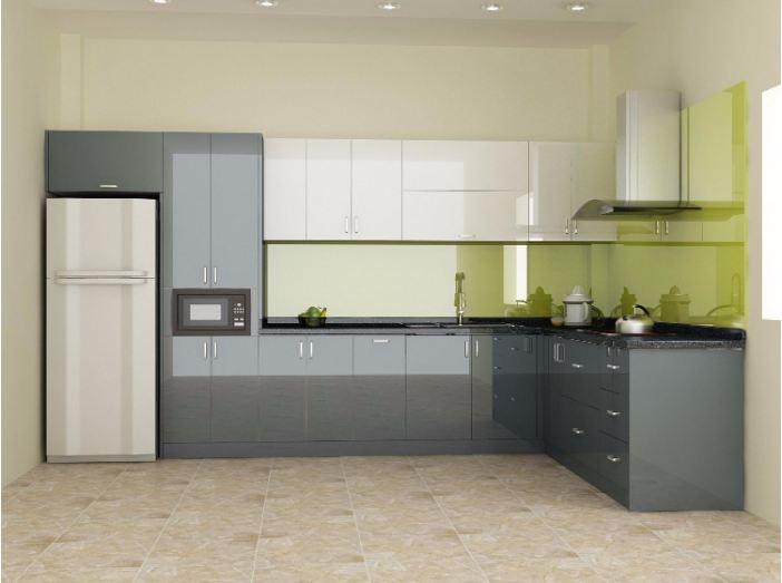 Mẫu tủ bếp acrylic đơn giản cho nhà chung cư