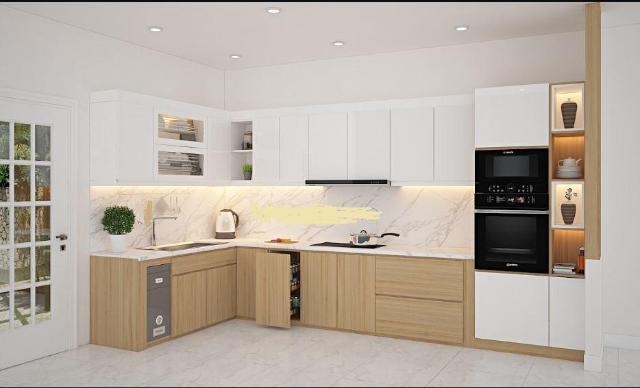 Tủ bếp acrylic sáng bóng ít trầy xước lại dễ vệ sinh lau chùi