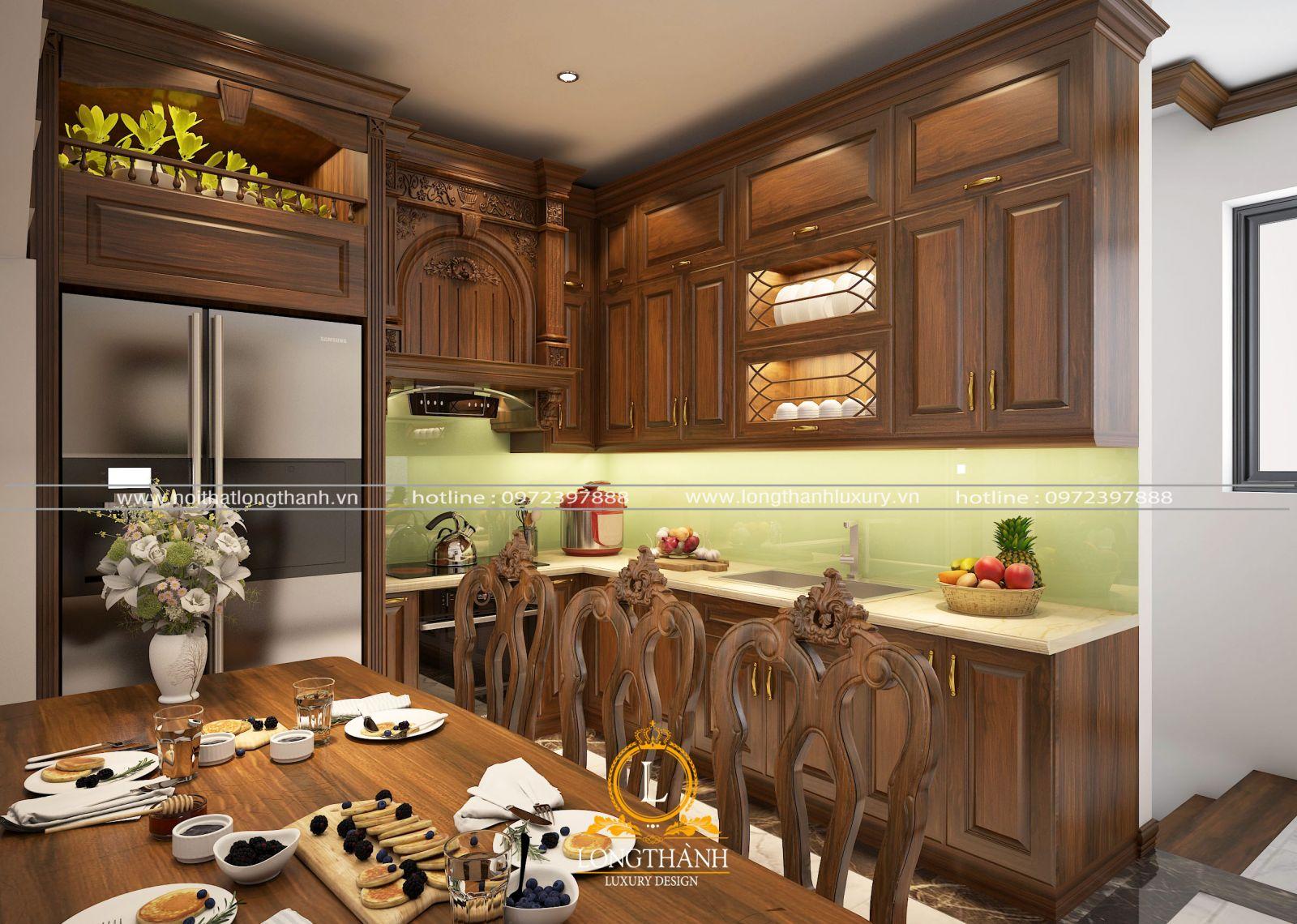 Mẫu tủ bếp gỗ Gõ chữ L sang bền đẹp lại nhỏ gọn tiện lợi tiết kiệm diện tích