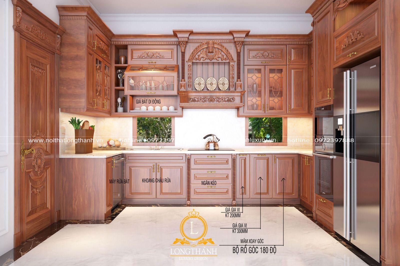 Tủ bếp được tích hợp đầy đủ công năng