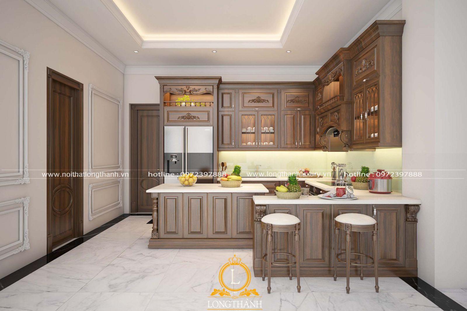 Bộ tủ bếp tân cổ điển đẹp được thiết kế và bài trí gọn gàng ngăn nắp