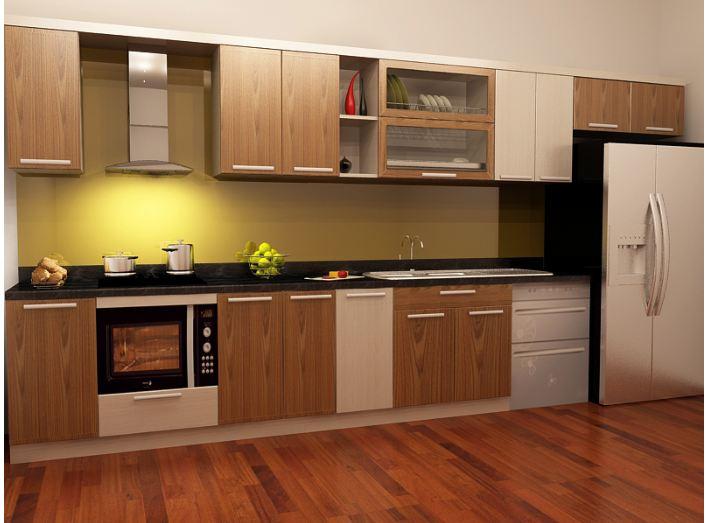Mẫu tủ bếp acrylic giả vân gỗ