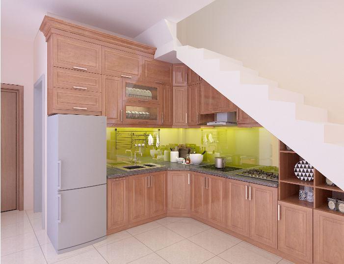 Thiết kế tủ bếp acrylic dưới gầm cầu thang cho nhà phố