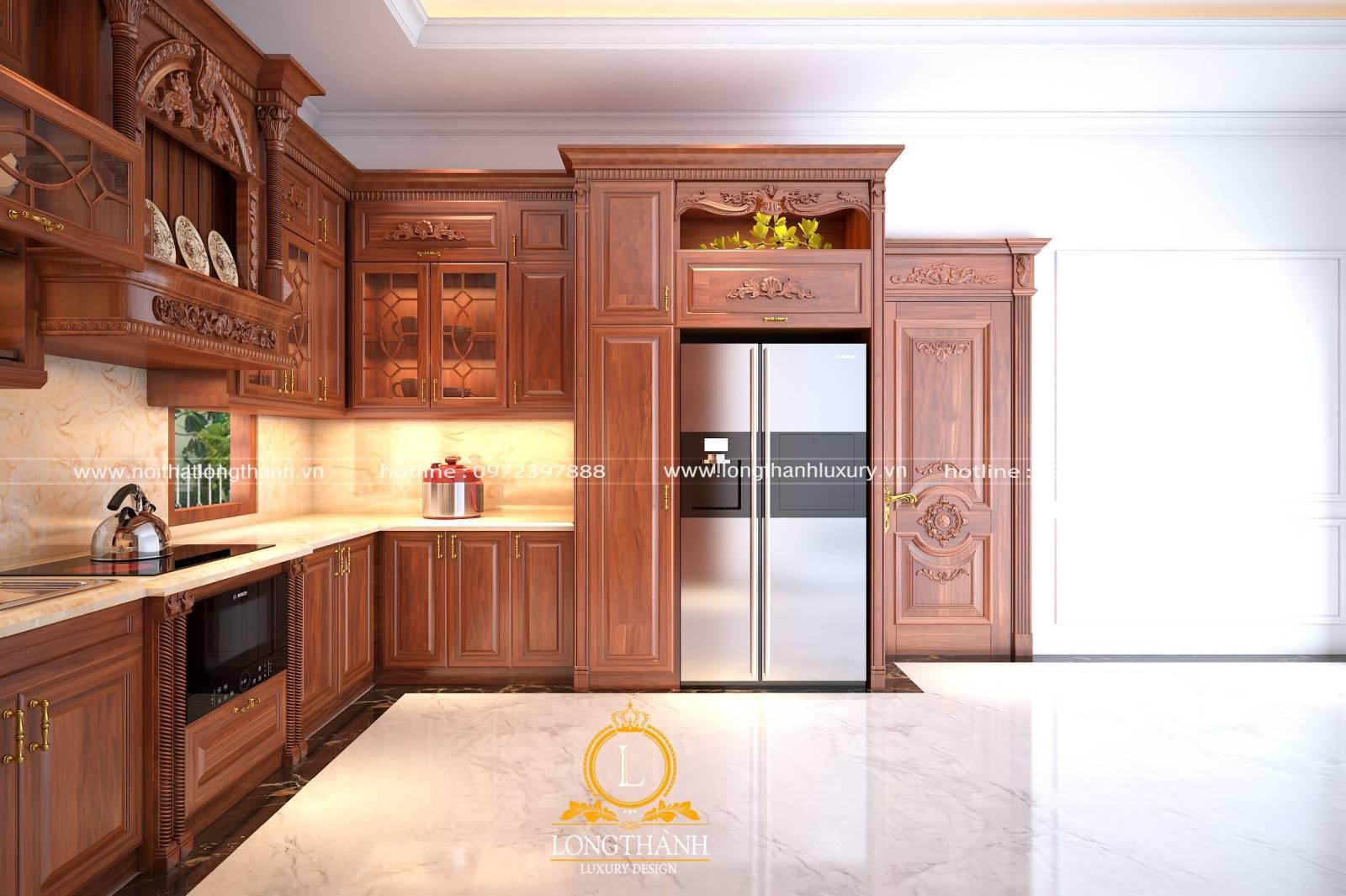 Tủ bếp gỗ Gõ hình chữ U khi nhìn theo góc trái cửa