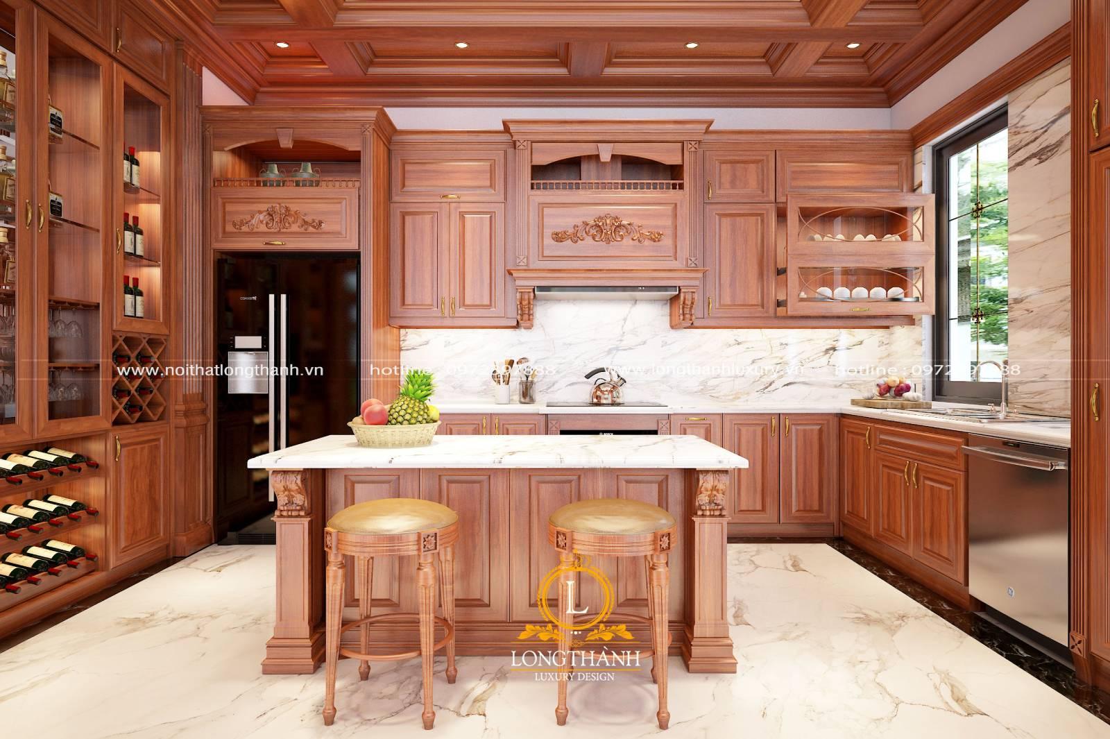 Thiết kế tủ bếp gỗ Gõ đỏ cho nhà biệt thự phố