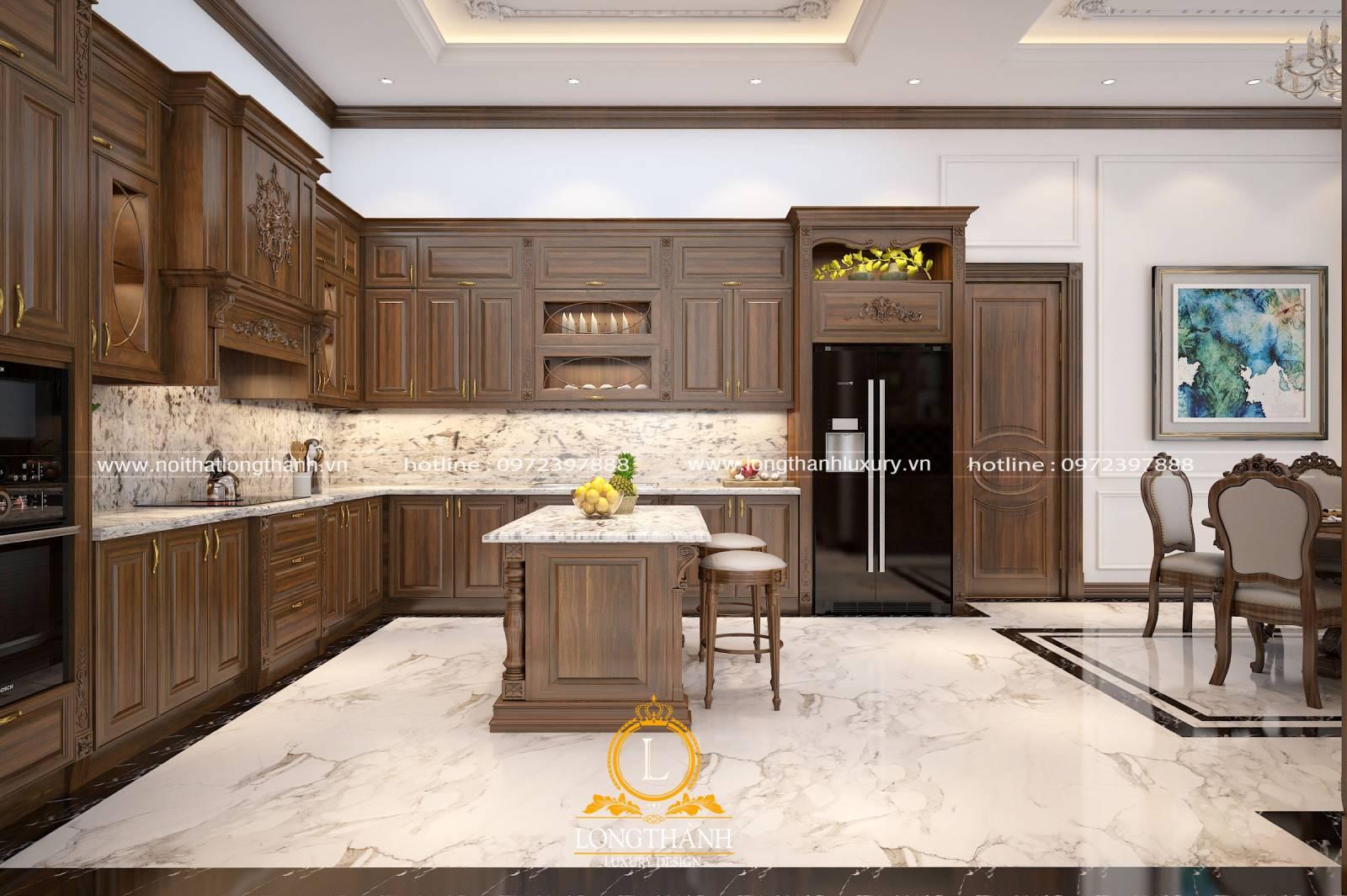 Tủ bếp gỗ Gỗ tự nhiên sơn PU tạo nên vẻ đẹp sang  - sáng hiện đại