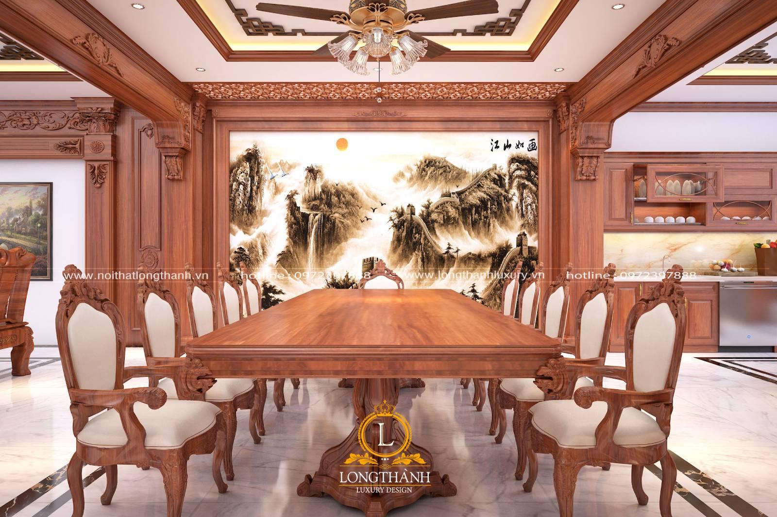 Mẫu bàn ăn tân cổ điển gỗ Gõ cho nhà biệt thự