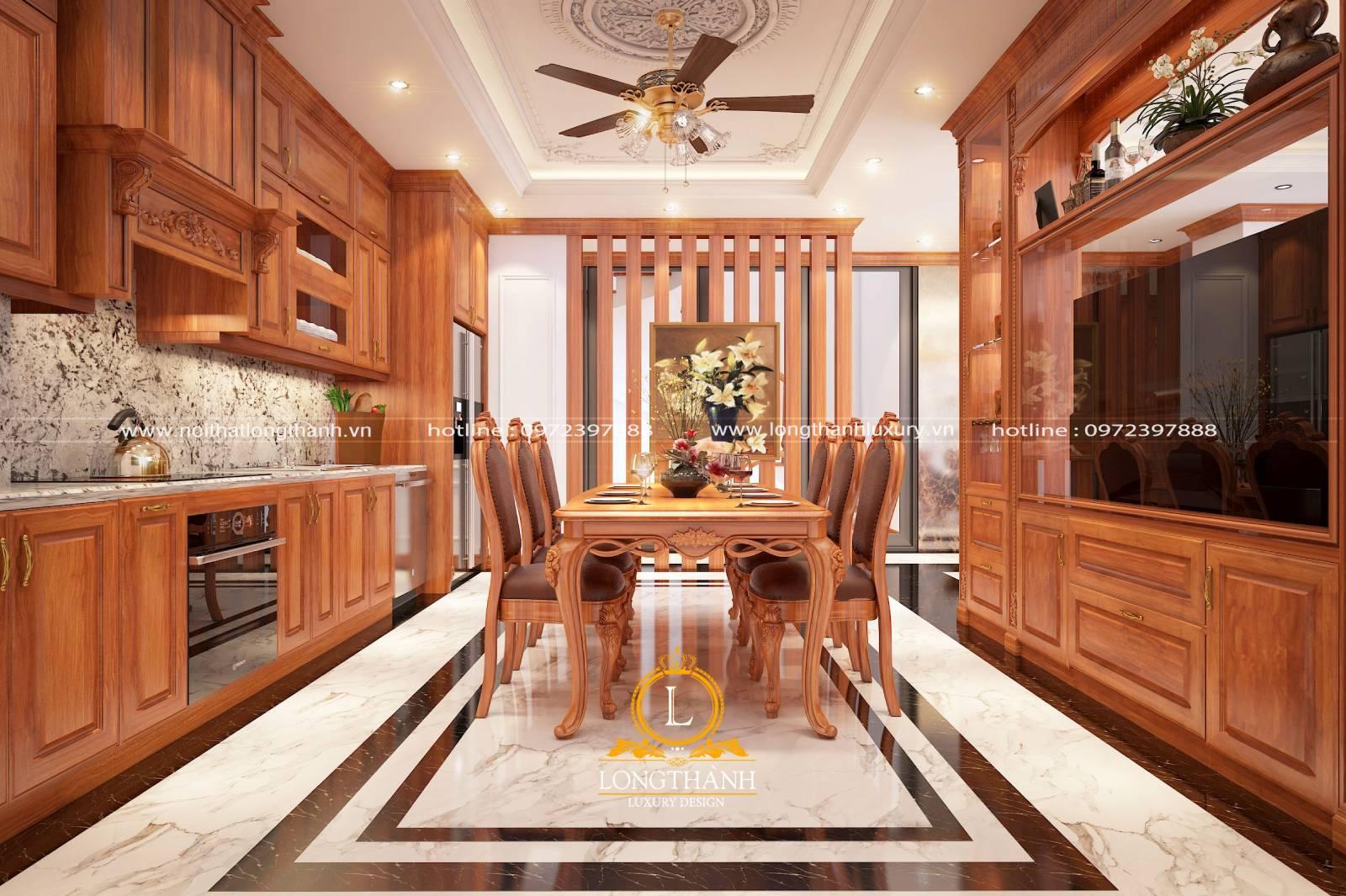 Mẫu tủ bếp gỗ Gõ chữ I sang trọng nhẹ nhàng cho nhà biệt thự