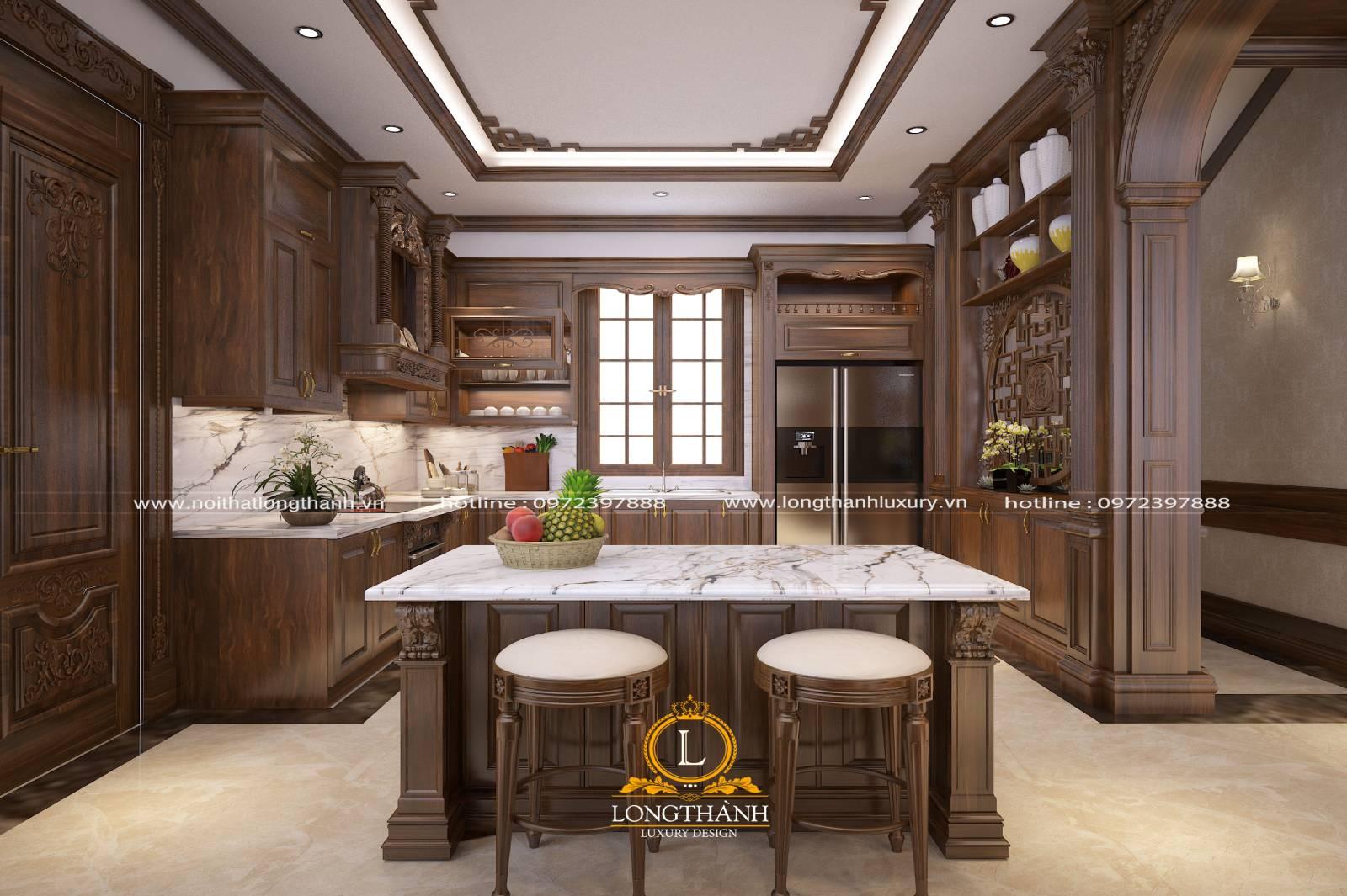 Thiết kế tủ bếp gỗ Gõ LT02 cho không gian nhà rộng