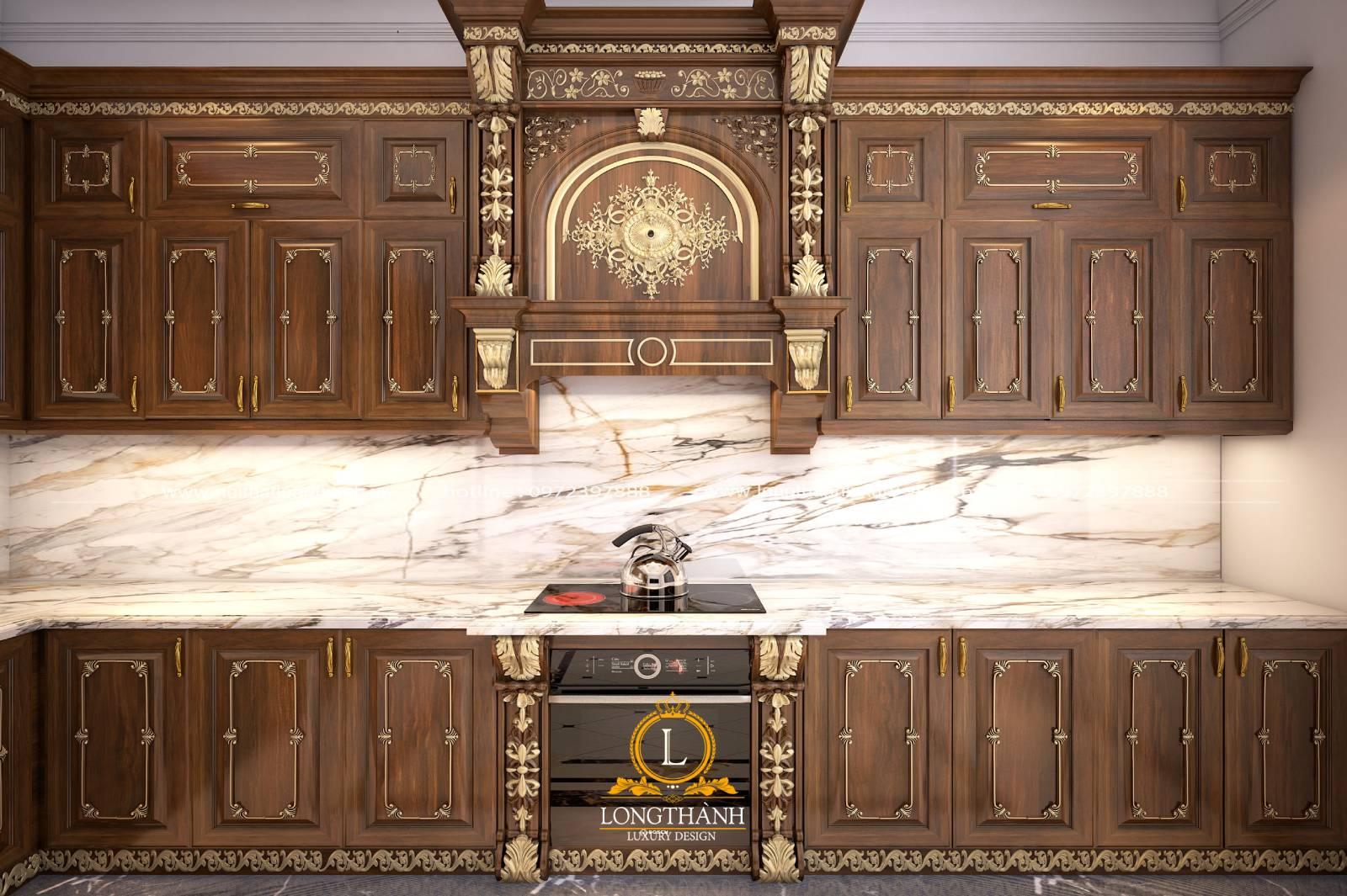 Cận cảnh mẫu tủ bếp gỗ Gõ đỏ LT03
