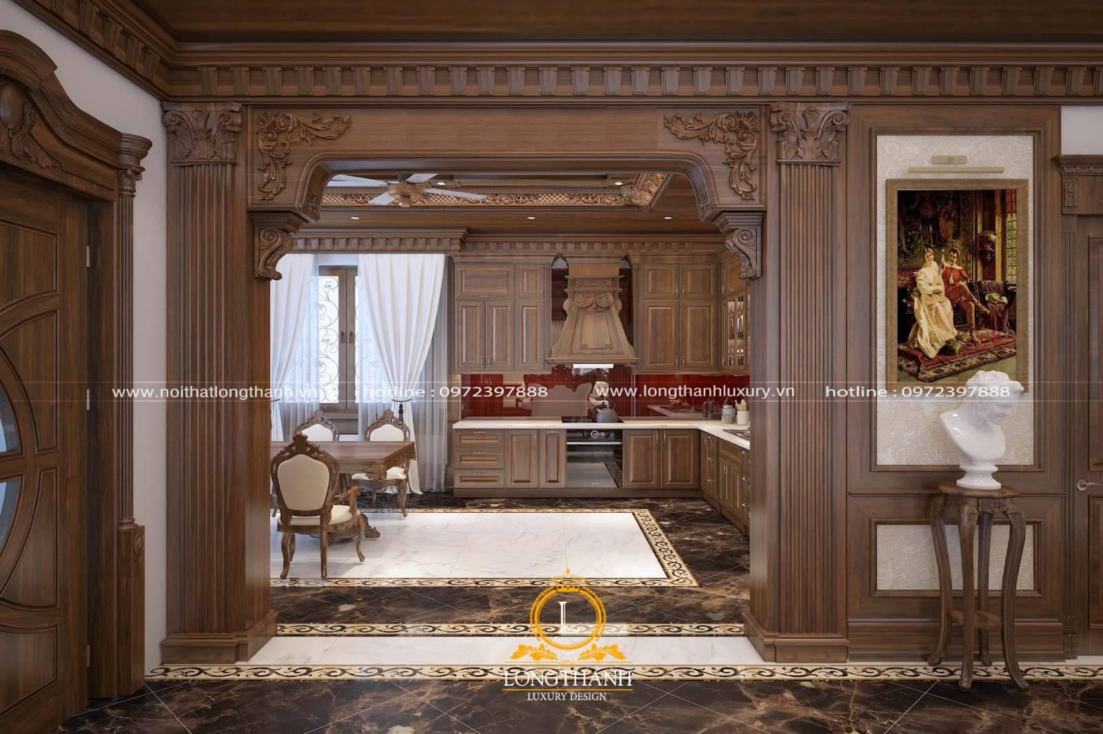 Thiết kế tủ bếp gỗ Gõ cao cấp cho nhà biệt thự cổ điển