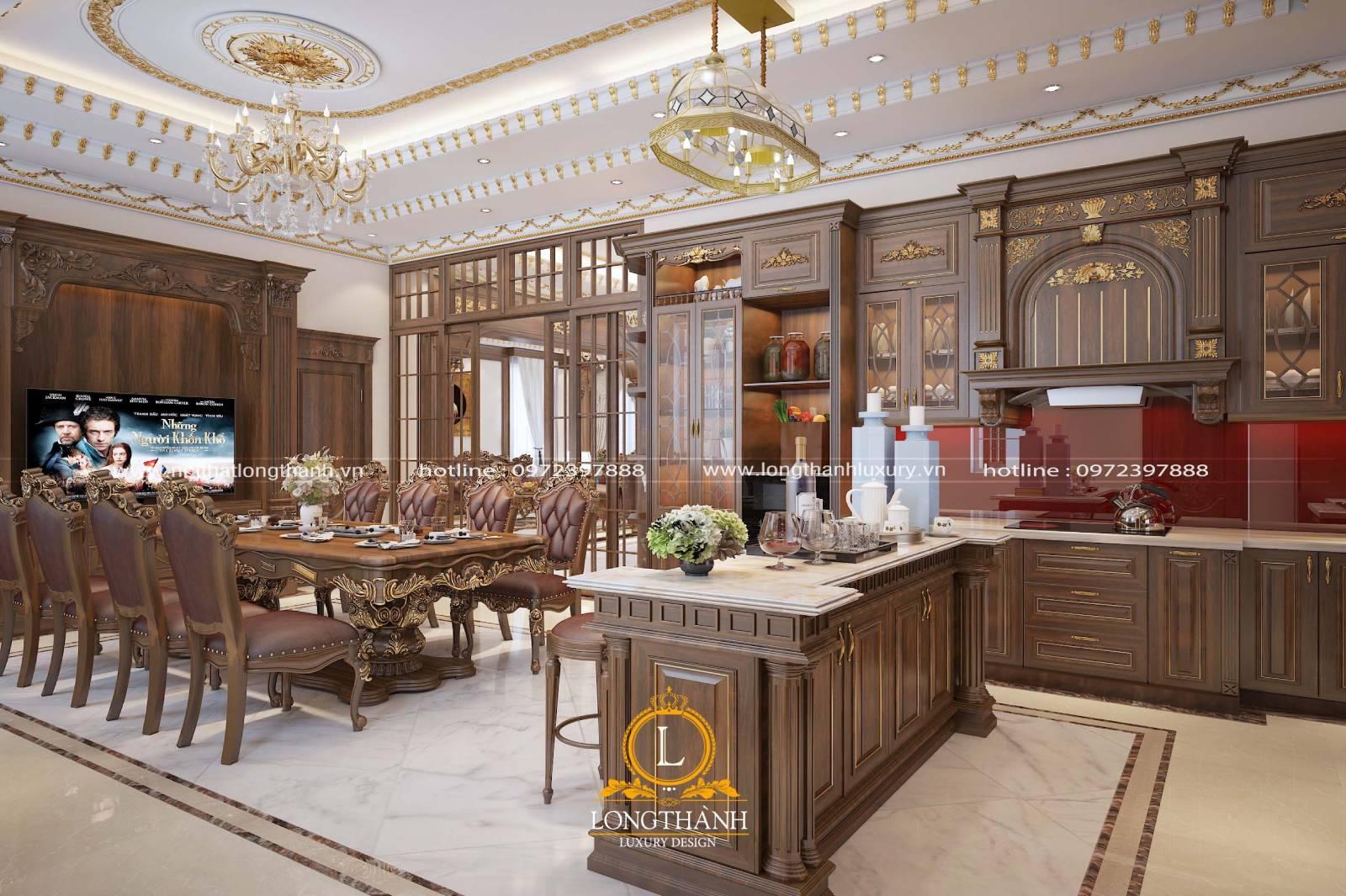 Thiết kế tủ bếp gỗ Gõ LT05 hình chữ L tân cổ điển mạ vàng sang trọng