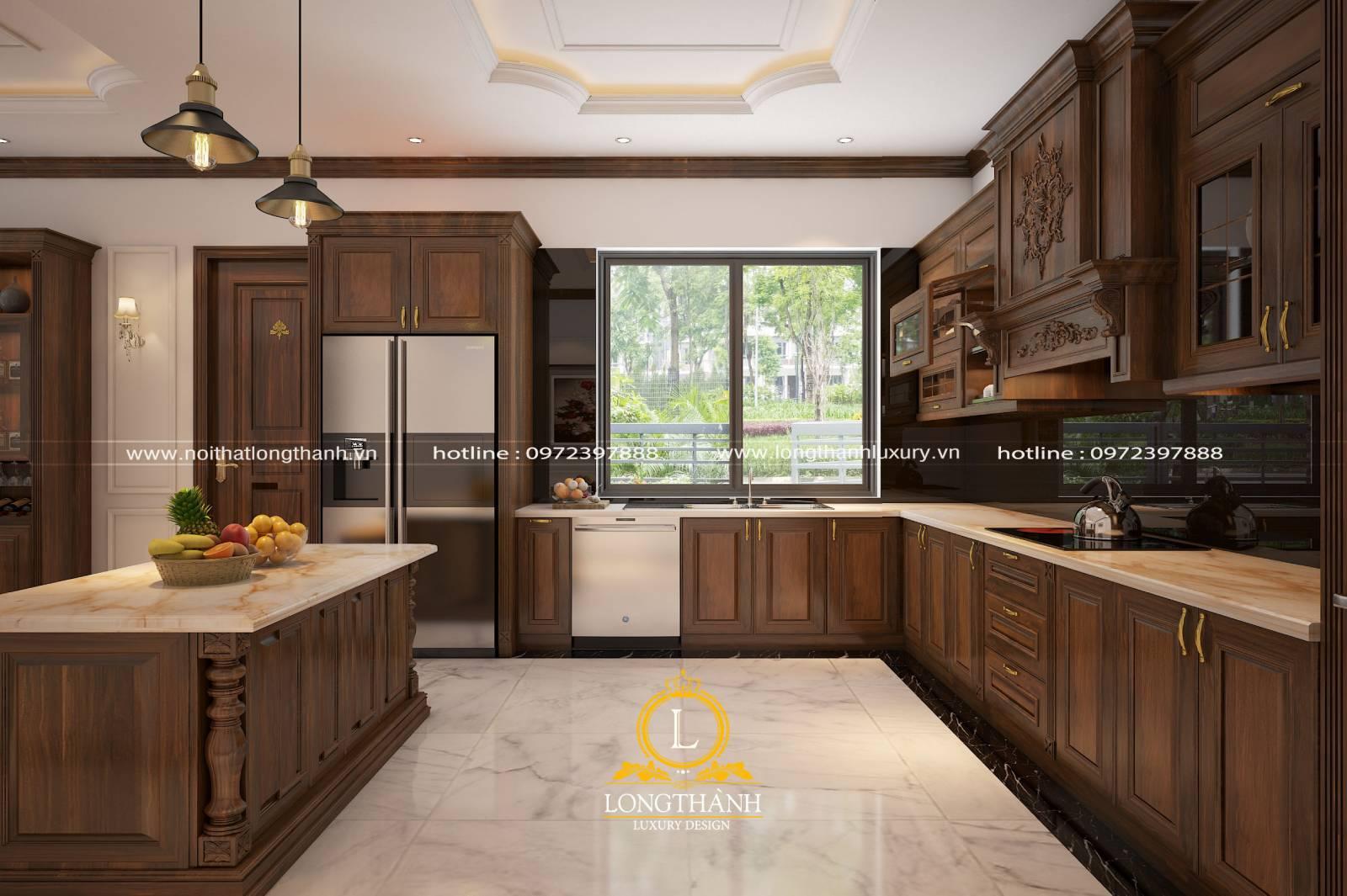 Thiết kế tủ bếp gỗ Gõ LT06 hiện đại kèm bàn đảo