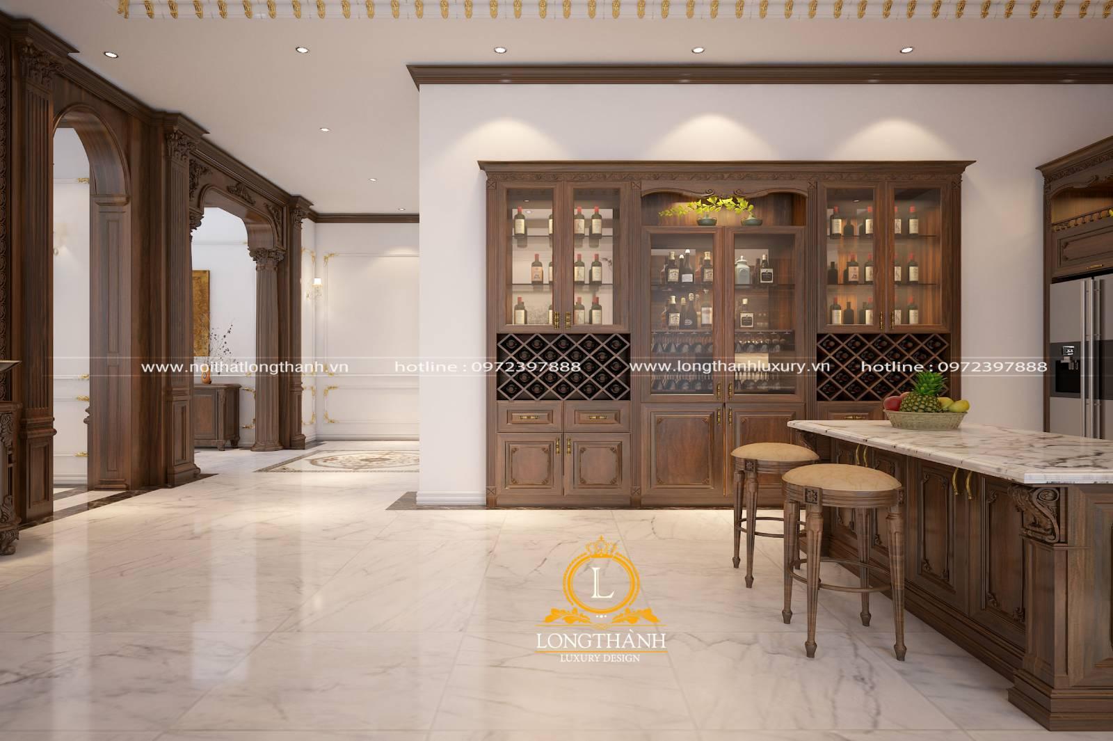 Tủ bếp gỗ Gõ tân cổ điển cho nhà biệt thự rộng
