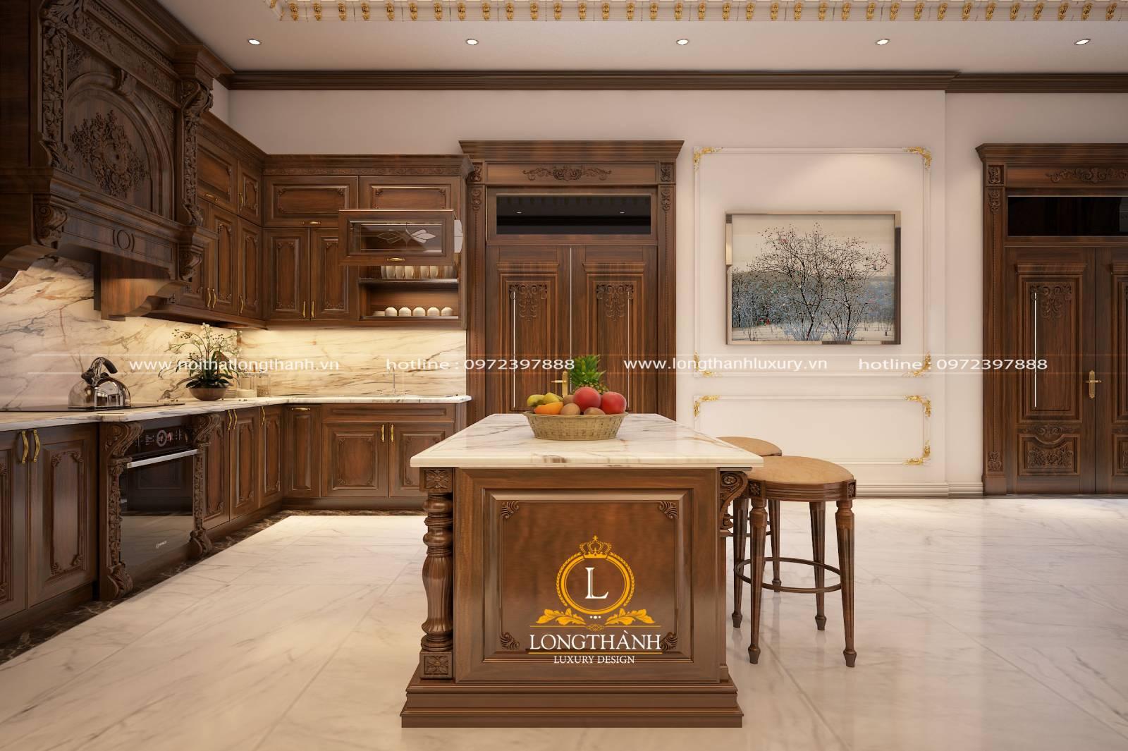 Thiết kế tủ bếp gỗ Gõ LT08 phong cách tân cổ điển nhẹ nhàng ấm cúng