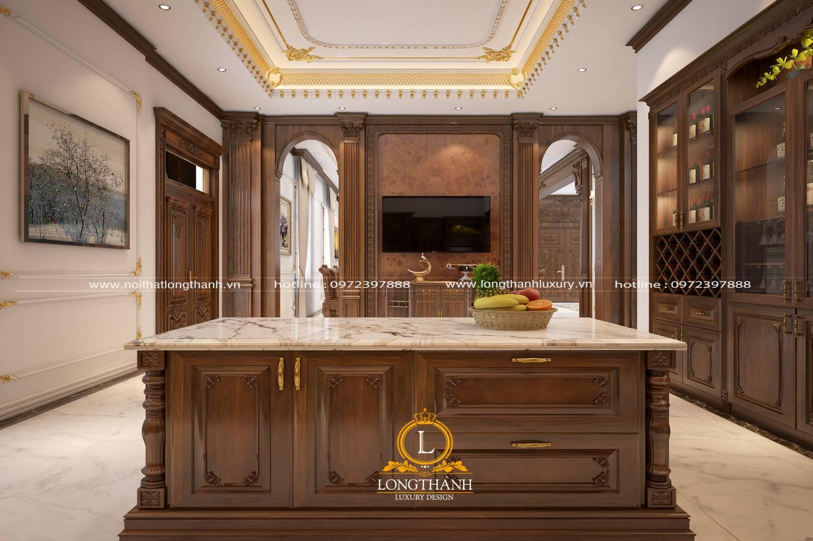 Tủ bếp gỗ Gõ LT08 kết hợp bàn đảo
