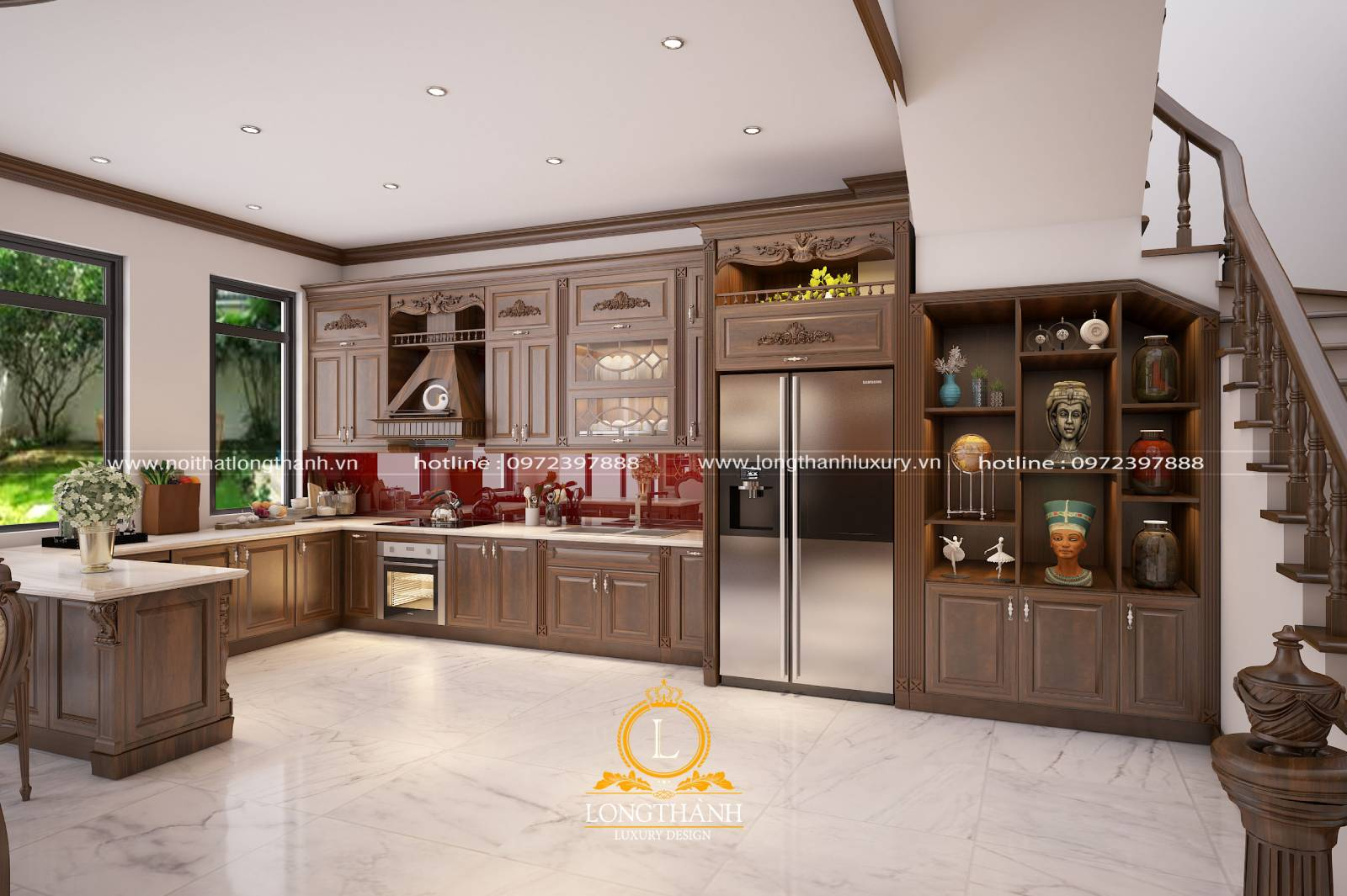Mẫu tủ bếp gỗ Gõ LT10 theo hình chữ U quây quần ấm cúng