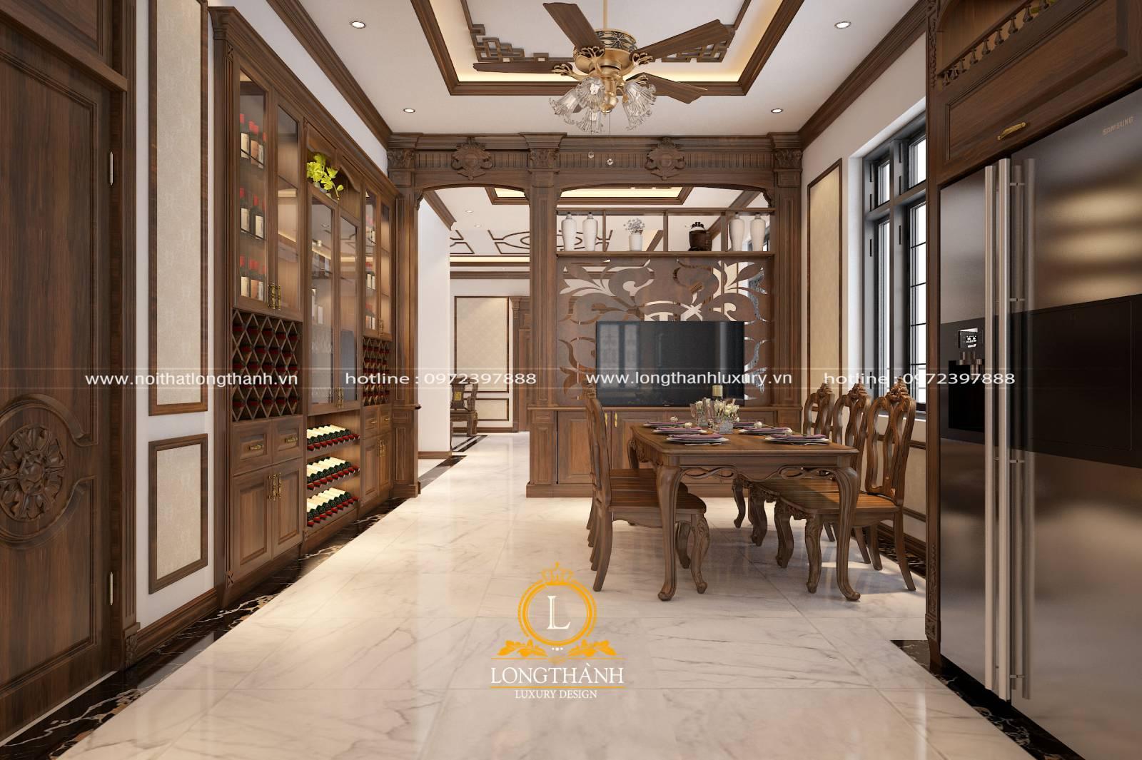 Không gian phòng bếp sang trọng hiện đại với mẫu tủ bếp và bàn ăn làm từ gỗ Gõ đỏ