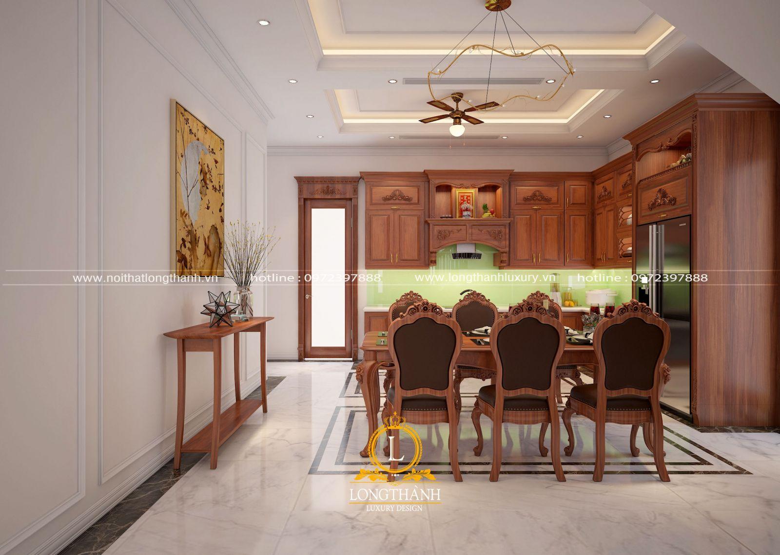 Thiết kế tủ bếp gỗ Gõ hiện đại kết hợp đồng bộ với nội thất phòng bếp